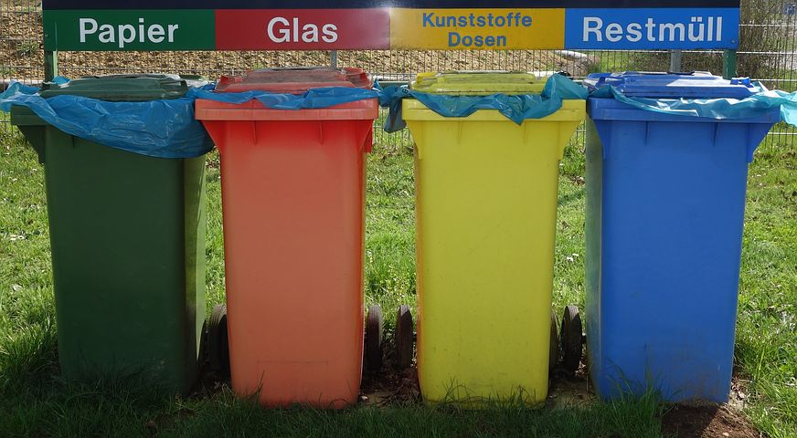 colored garbage bins